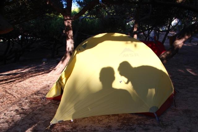 wir zelten an der Praia do Guincho in Portugal