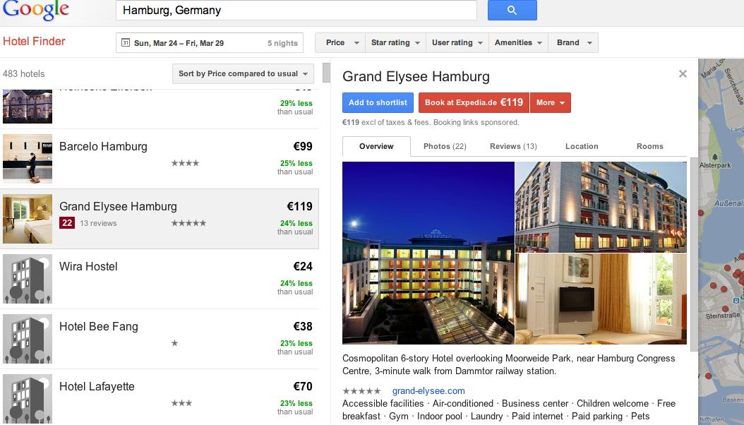 Hotel Finder von Google