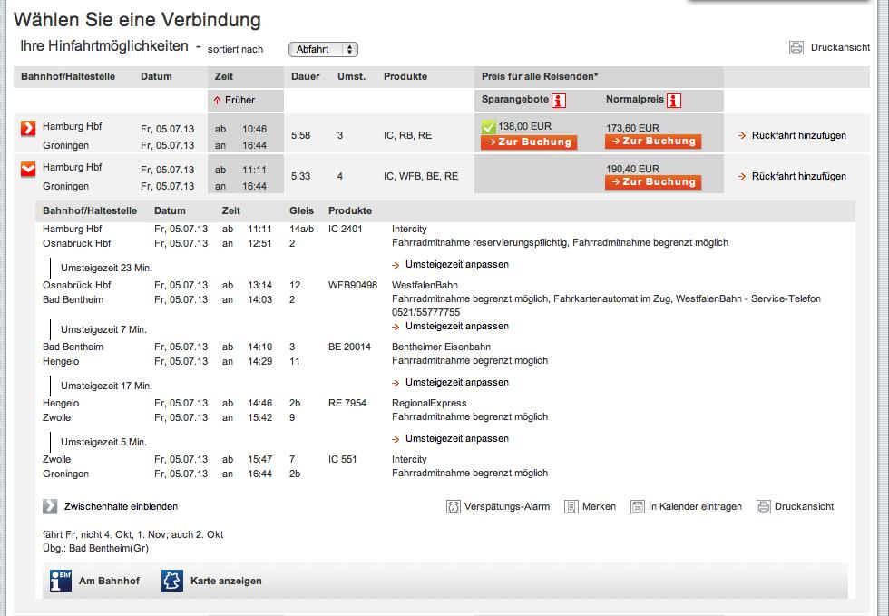 DB: Hamburg - Hengelo - Groningen