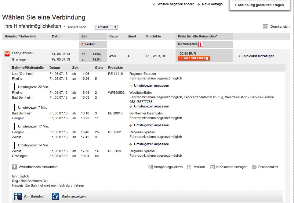 DB: über Leer - Zwolle nach Groningen