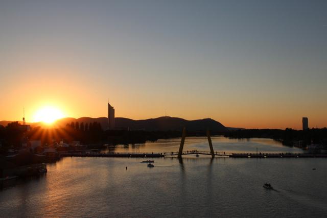 Sonnenuntergang an der Neuen Donau