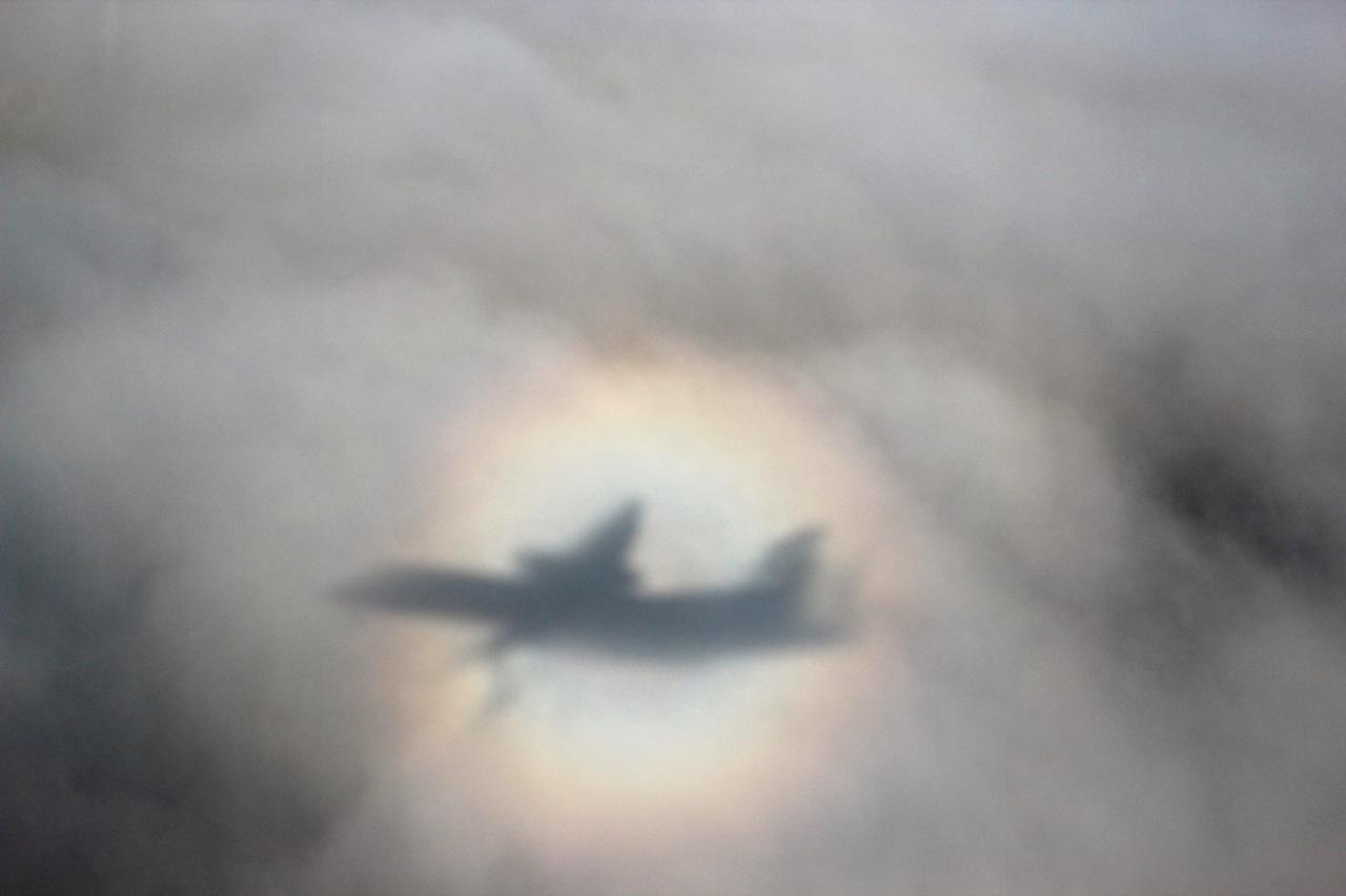 Halo aus dem Flugzeug aus gesehen