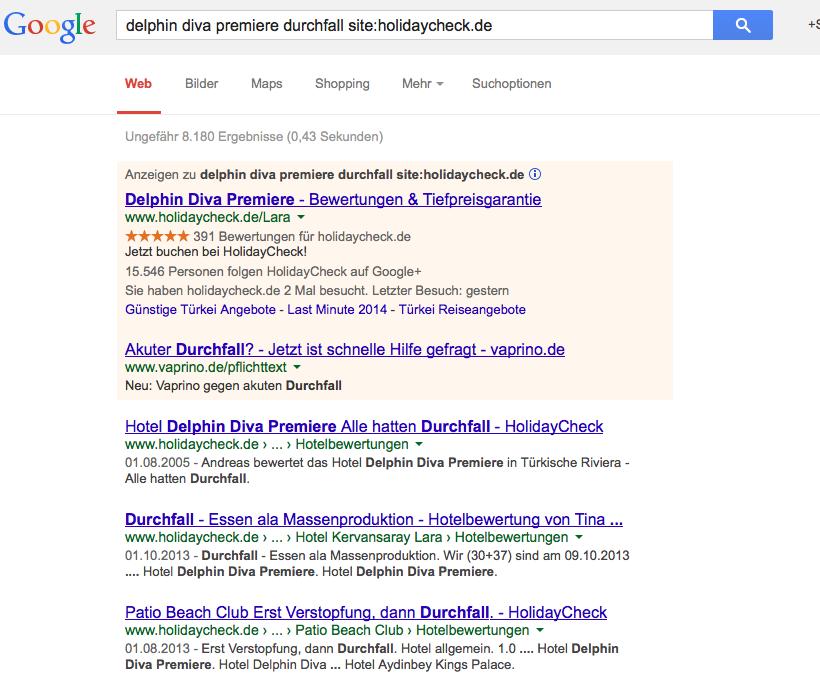 "Google ""Durchfall"""