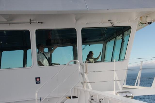 Die Brückenbesatzung entdeckt die Wale zuerst