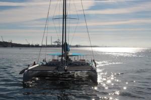 der Katamaran, auf dem wir den Delfinen hinterher fahren werden