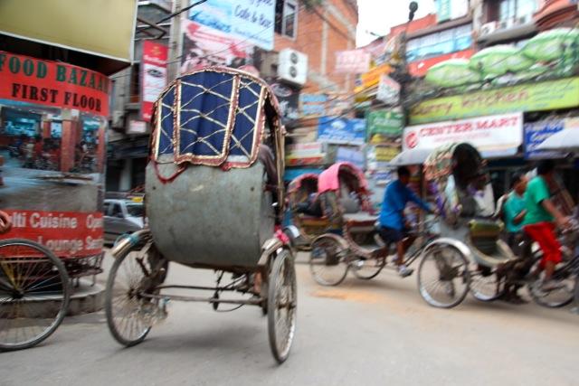 Einsatz als Rikscha-Fahrer in Kathmandu