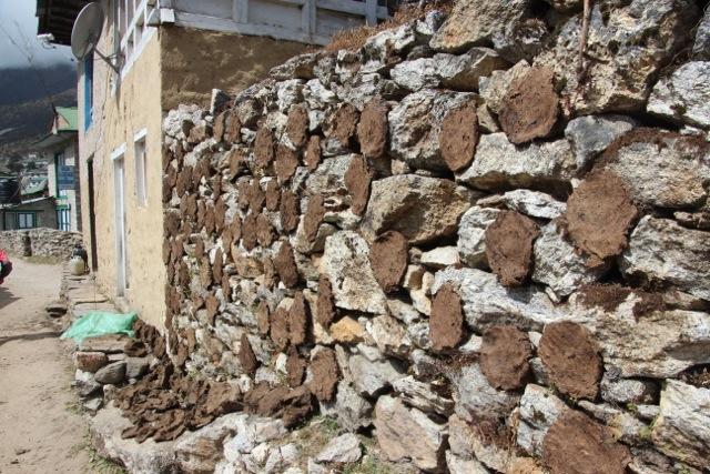 Yak-Fladen trocknen an der Steinmauer