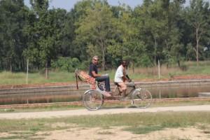 mit der Rikscha unterwegs in Lumbini