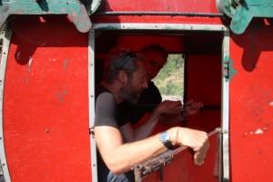 Kabine über den Fluss Trisuli