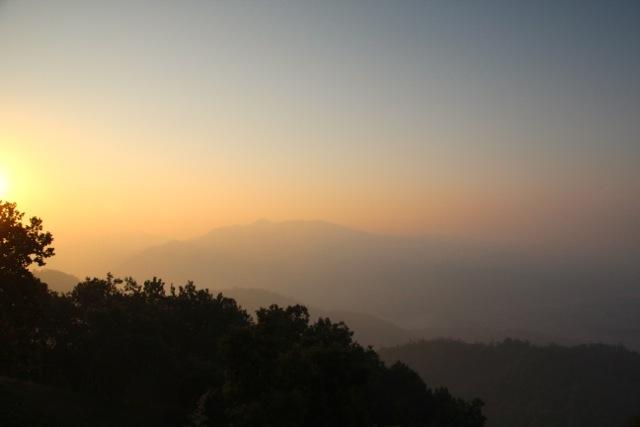 Sonnenuntergang über dem Ganges-Tal