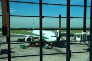unsere Maschine am Flughafen von Rom