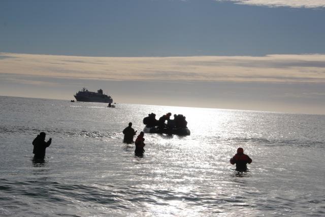 Die Crew steht im Wasser und hilft bei der Anlandung