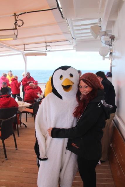 zu Festlichkeiten gibt es Pinguine an Bord