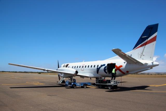 Die Saab 340 von Regional Express auf dem Airport von Kangaroo Island