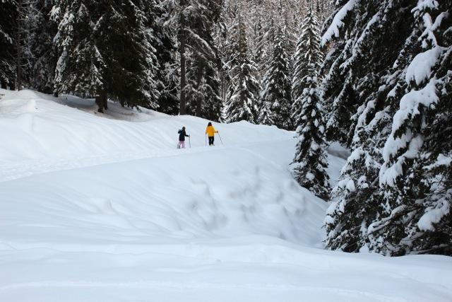 Benita und Judith sind schnell mit ihren Schneeschuhen